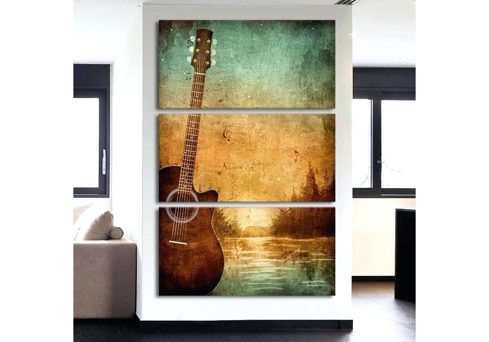 A guitar photo on a wall